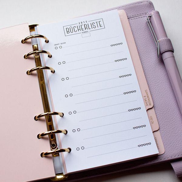 Wochenplaner - Bücherliste für Ringbuch Kalender (Filofax pers.) - ein Designerstück von olialemon bei DaWanda