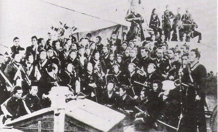 Rebel samurai troops of the former Bakufu (shogunate), being transported to Hokkaidō, 1869, Boshin war era.