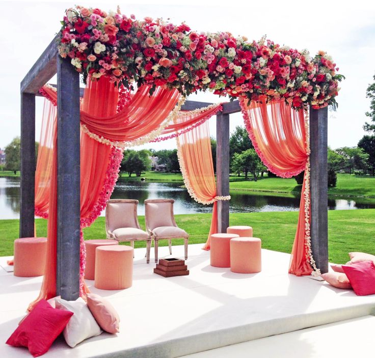 Aspects of this Mandap I love, the cluster of florals across the top and the sheer fabric.. I don't like the stranded florals (they look too Hawaiian)