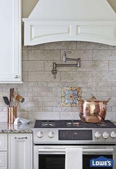 your kitchen workspace should offer convenience and character a pot filler and cabinet - Tijdelijke Backsplash