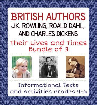 """This bundle of British authors includes three of my """"Life and Times"""" biography series: J.K. Rowling, Roald Dahl, and Charles Dickens. All three are informational reading and writing units with a similar format. Each one has a full answer key for student work pages."""