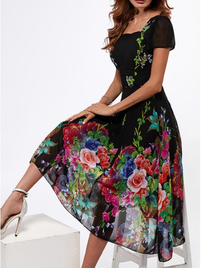 9c6fd0840265 Women's Dress Floral Square Neck Trumpet Chiffon Printing Maxi Dress ...