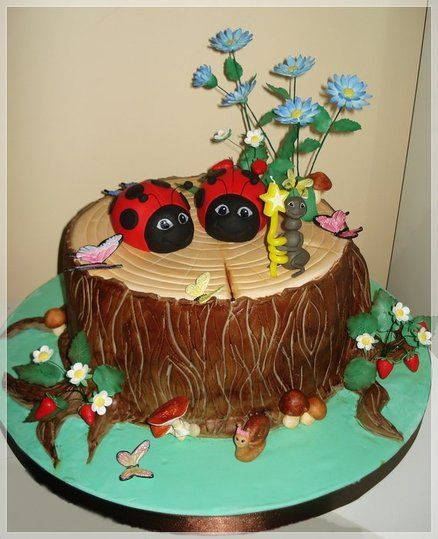 Tree stump cake Ant holding candle Mushrooms Fondant look Snail