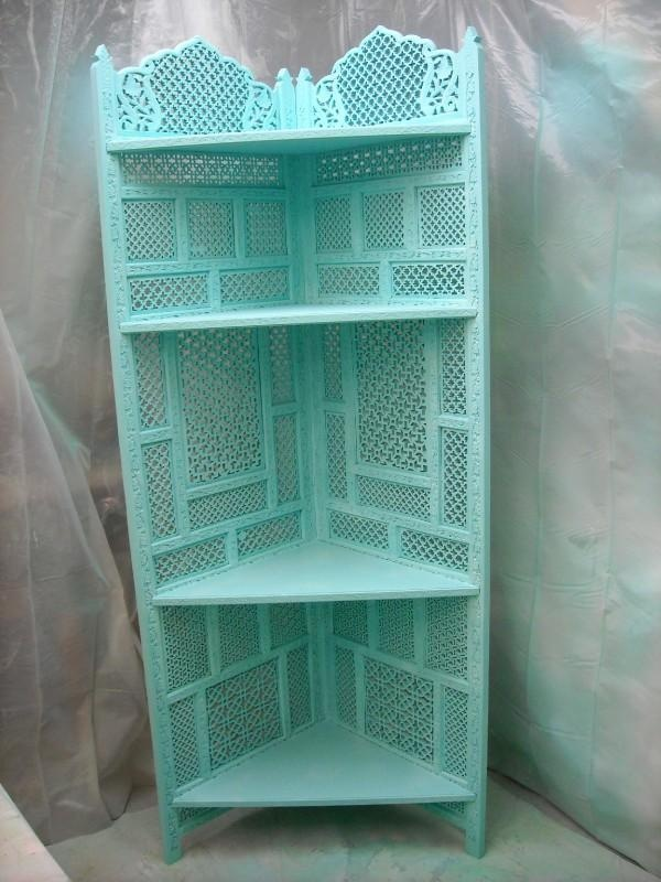 Corner shelf made from an ornate wooden room divider screen Shabby cottage chic.