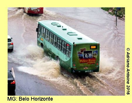 BELO HORIZONTE (MG): City bus on flooded avenue