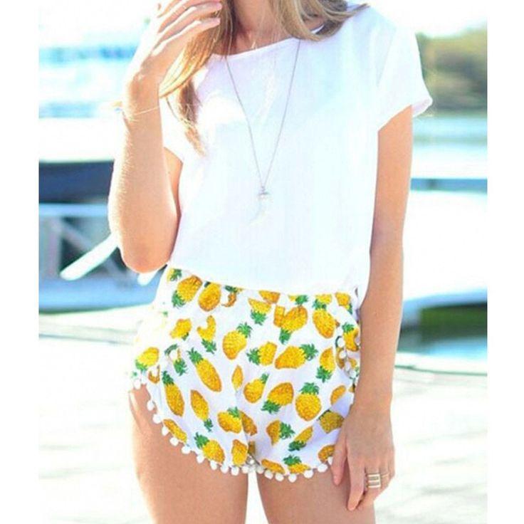 'Lea' Pineapple Pom Pom Shorts