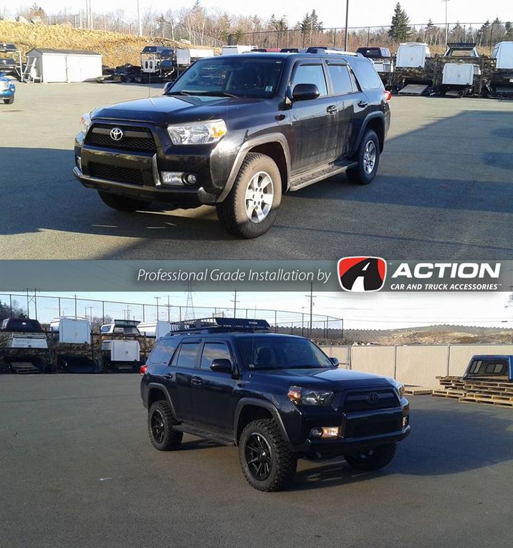 #TransformationTuesday 2011 Toyota 4runner SR5 Wheels, Tires, Lift, Roof Basket, Headlights and blacked out emblems complete this transformation from our store in Dartmouth NS! #ProfessionalGradeInstallation