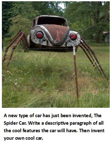A new type of car has just been invented, the Spider Car. Write a descriptive paragraph of all the cool features the car will have.  Then invent your own cool car.