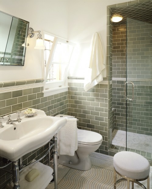 tile and console sink: Bathroom Design, Guest Bathroom, Small Bathroom, Modern Bathroom, Country Bathroom, Subway Tile, Zillow Dig, Wall Sconces, Tile Bathroom