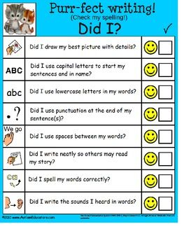 FREE Checklist for Young Writers (Autism, Special Education) - Great way to promote self monitoring!