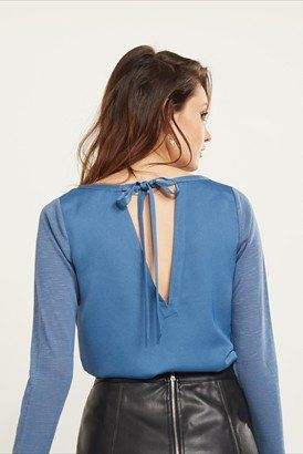 Satin And Knit Tie Back Tunic