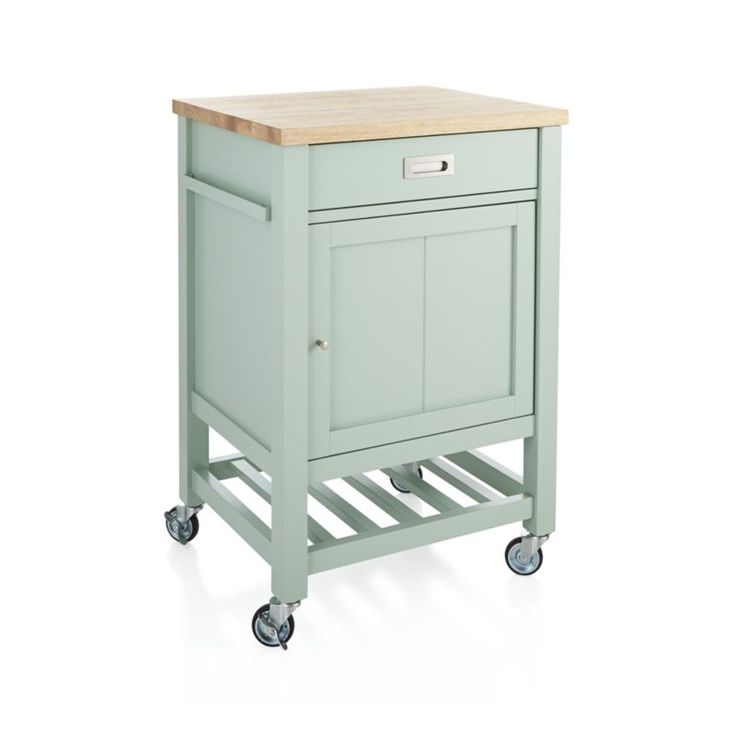 Sleek Kitchen Cart With Rubberwood Worktop Is Durable And