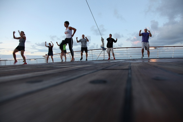 All hands on deck for an early morning RVL workout.   (Cruise for Gold - August 2012): Photo