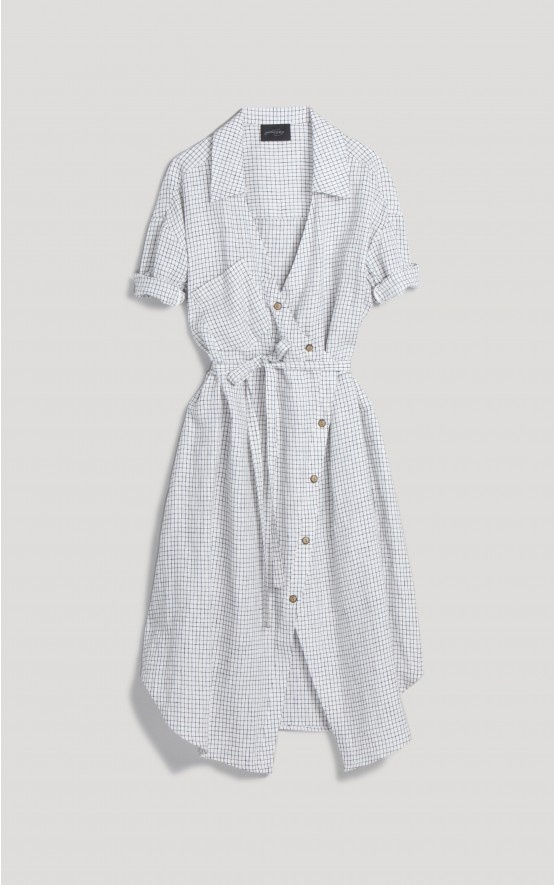 Crisp linen v-neck wrap dress ties at the waist, with a classic collar and asymmetrical button down placket. Short, rolled sleeves have elastic smocking under arm for snug roll. Yarn dyed woven grid pattern.  #rachelcomey