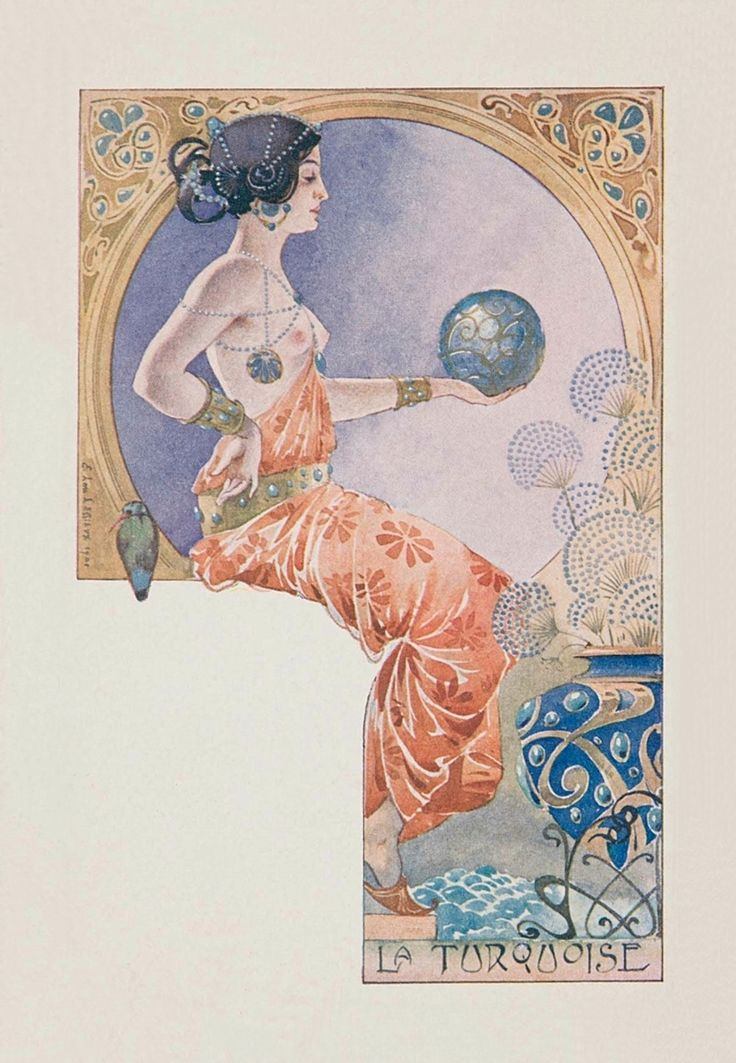 La turquoise.1901. Series : woman with precious gems. Color lithograph on card stock. 14 x 8.9 cm. (10/10).  Art by Ernest Louis Lessieux. (1848-1925).