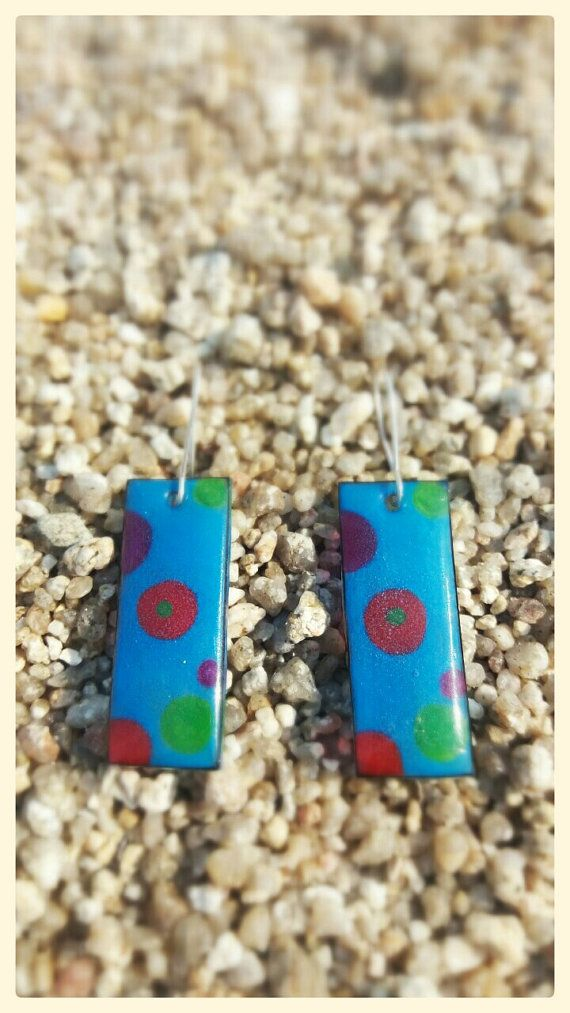 dangle earrings-shrink plastic earrings-ocean blue by DionaCrafts