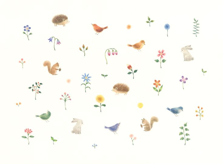 """Animals, Flowers, and Grasses"" −RiLi, picture book, illustration, design ___ ""動物たちと花と草"" −リリ, 絵本, イラスト, デザイン ...... #illustration #animals #flower #grass #イラスト #動物 #花 #草"