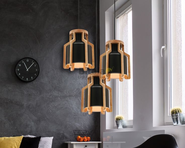 Fiesta+3+Light+Cluster+Ceiling+Pendant+-+Matt+Black+with+Timber+-+Mercator+MG5431+**CUSTOM**, $419.00
