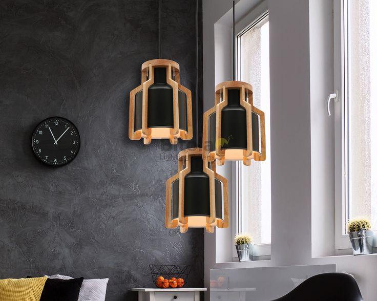 Fiesta+3+Light+Cluster+Ceiling+Pendant+-+Matt+Black+with+Timber+-+Mercator+MG5431+**CUSTOM**, $419.00