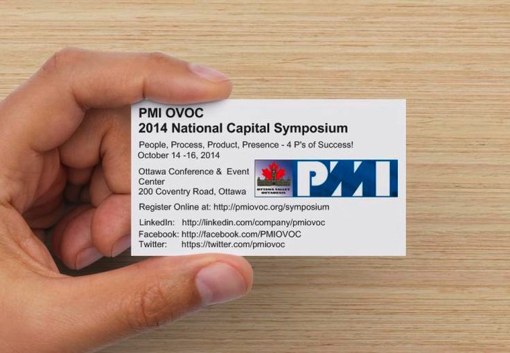 Reminder card for the National Capital Project Management Symposium.