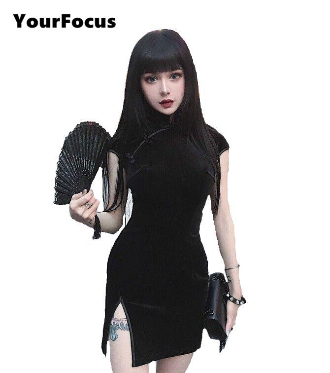 Купить товарВаше внимание 2017 летнее китайское в винтажном стиле, в стиле ретро в стиле панк рок подол секущиеся кончики пластина пряжки Cheongsam бархатное платье черное облегающее платье в категории Платьяна AliExpress. Ваше внимание 2017 летнее китайское в винтажном стиле, в стиле ретро в стиле панк-рок подол секущиеся кончики пластин�%