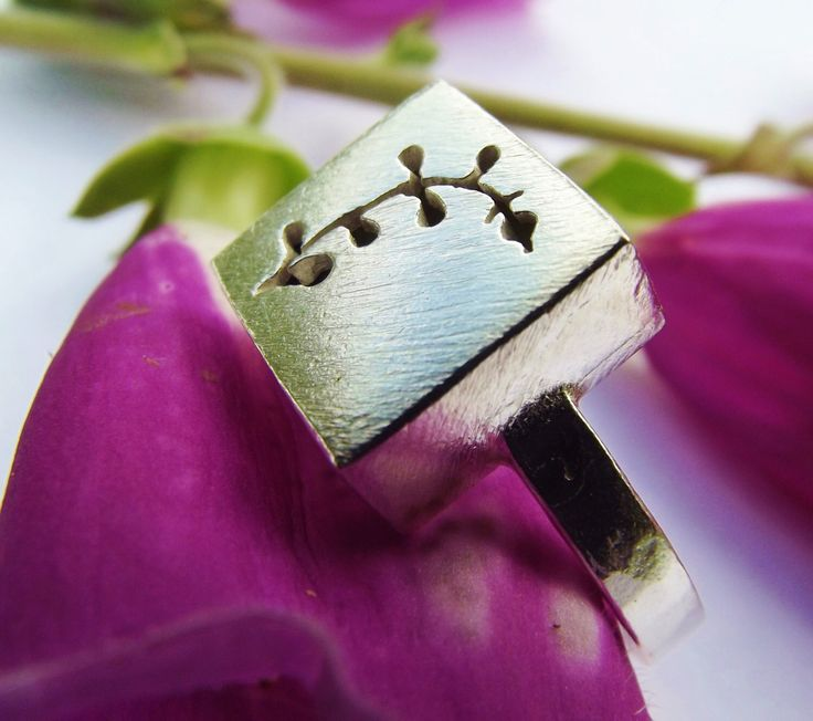 Wildflower ring, sterling silver ring, Foxglove, handcut ring, flower, square ring, unusual ring, gift, chunky ring, handmade jewellery, by ThemSilverSeas on Etsy https://www.etsy.com/listing/195723987/wildflower-ring-sterling-silver-ring