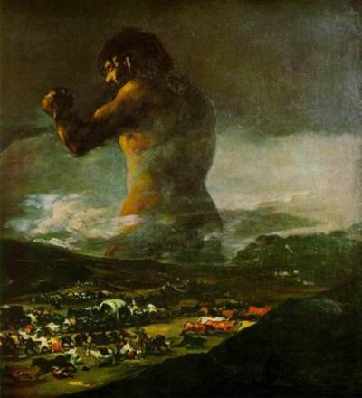 Goya, The Colossus (1808) [also saw this in person, along with most of Goya's work... he is one of my favorite artists; love his life story and progression you can see in his art]
