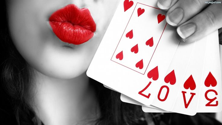 Pretty Lips Kiss With Heart Cards Love Spelled HD Wallpaper