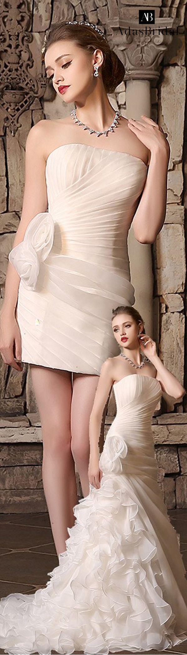 Amazing Organza Satin Strapless Neckline 2 In 1 Wedding Dresses