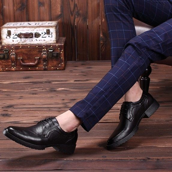 2017 Classic Mens Dress Shoes Height Increasing Spring Genuine Leather Shoes For Men Oxfords Formal Shoes SMYNZG-F0021
