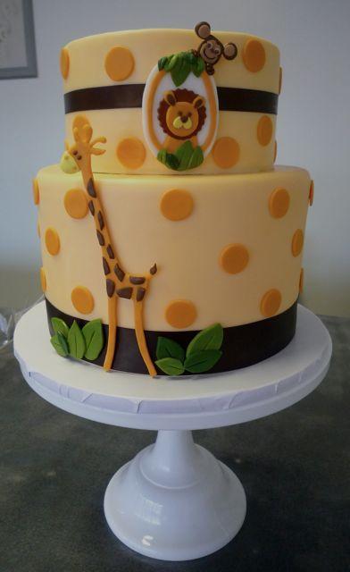 Baby Giraffe & Monkey Cake
