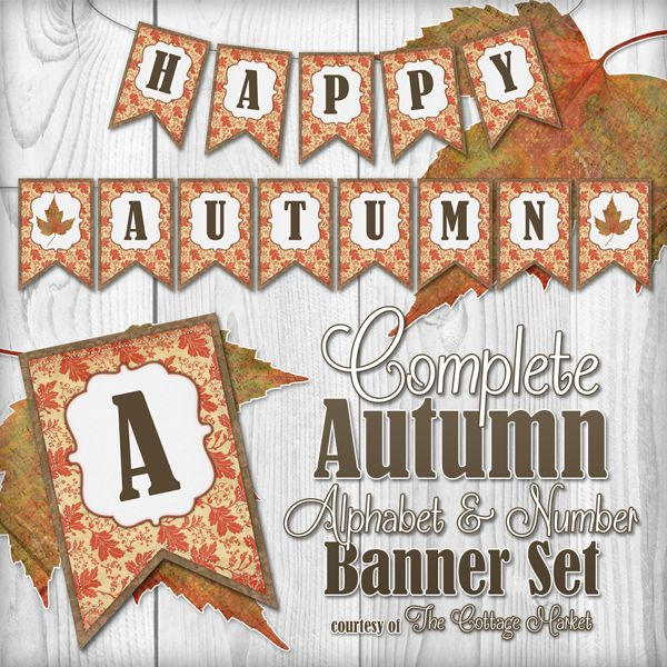 Free Complete Autumn Alphabet and Number Banner Bunting Set with extras