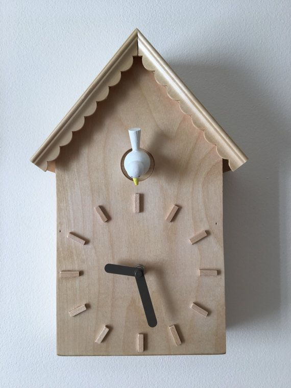 Modern Cuckoo Clock with White Bird Wood  by WickedGoodGoods