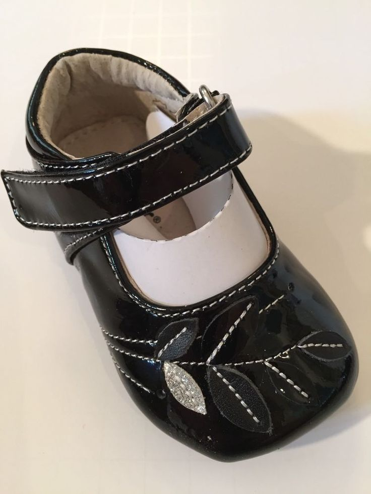 SEE KAI RUN Maya Black Patent Leather Shoe w/ Leaf Accents Sz 6-9 Months $42 NWB #SeeKaiRun #CribShoes