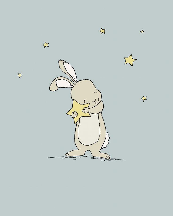 Woodland Nursery Art - Bunny Holds Star
