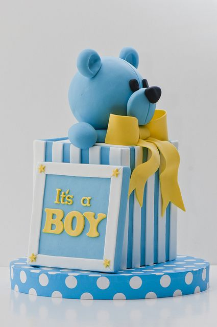 It's a Boy Blue Teddy Bear in Gift Box Cake by Decorative Sweets