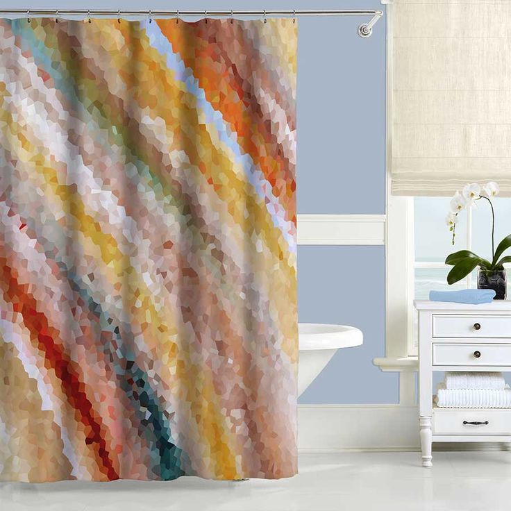 Art Shower Curtain, Yellow Shower Curtain Beige Orange Red Blue Bathroom Curtains Unique Shower Curtain Bathroom Decor Modern Shower Curtain by DesignbyJuliaBars on Etsy https://www.etsy.com/listing/253431525/art-shower-curtain-yellow-shower-curtain