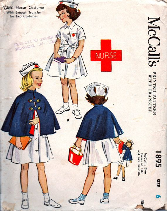 McCalls 1895; ©1955    This genuine vintage sewing pattern is for a nurse dress, cape and cap and includes four unused Red Cross transfers.    ORIGINAL