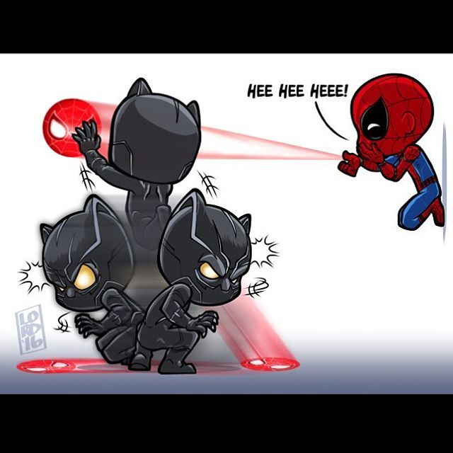 Black Panter and Spiderman (Marvel/Sony, 2016) from Captain America: Civil War (2016) by Lord_Mesa