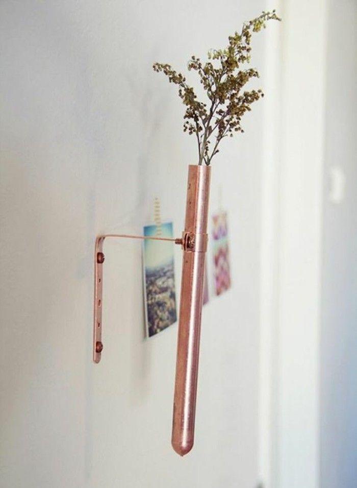 dcoration murale minimaliste tube essai en cuivre transform en petit vase soliflore - Decoration Tube A Essai Mariage