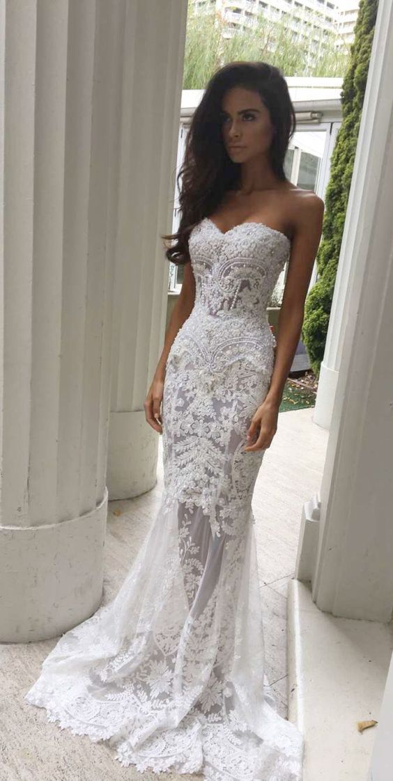 mermaid sweetheart sweep train ivory lace wedding dress with appliques