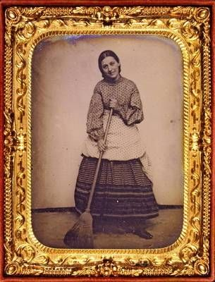 Victorian woman with a broom circa 1865  George Eastman House   Still Photograph Archive