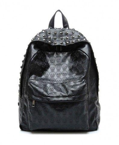 Black Studded Backpack with Embossed Skull Print