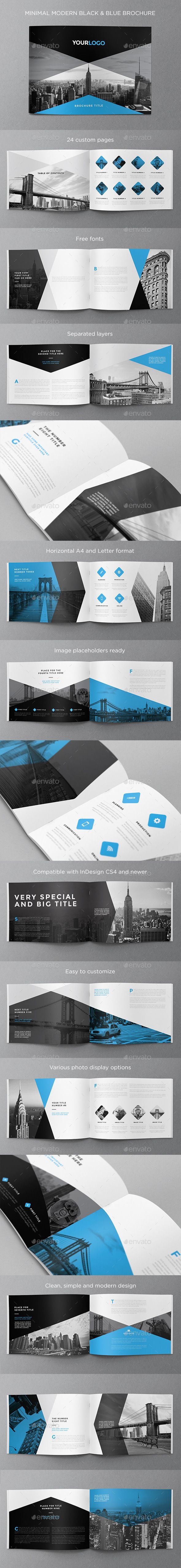 Minimal Modern Black & Blue Brochure — InDesign INDD #modern #a4 • Available here → https://graphicriver.net/item/minimal-modern-black-blue-brochure/11663356?ref=pxcr