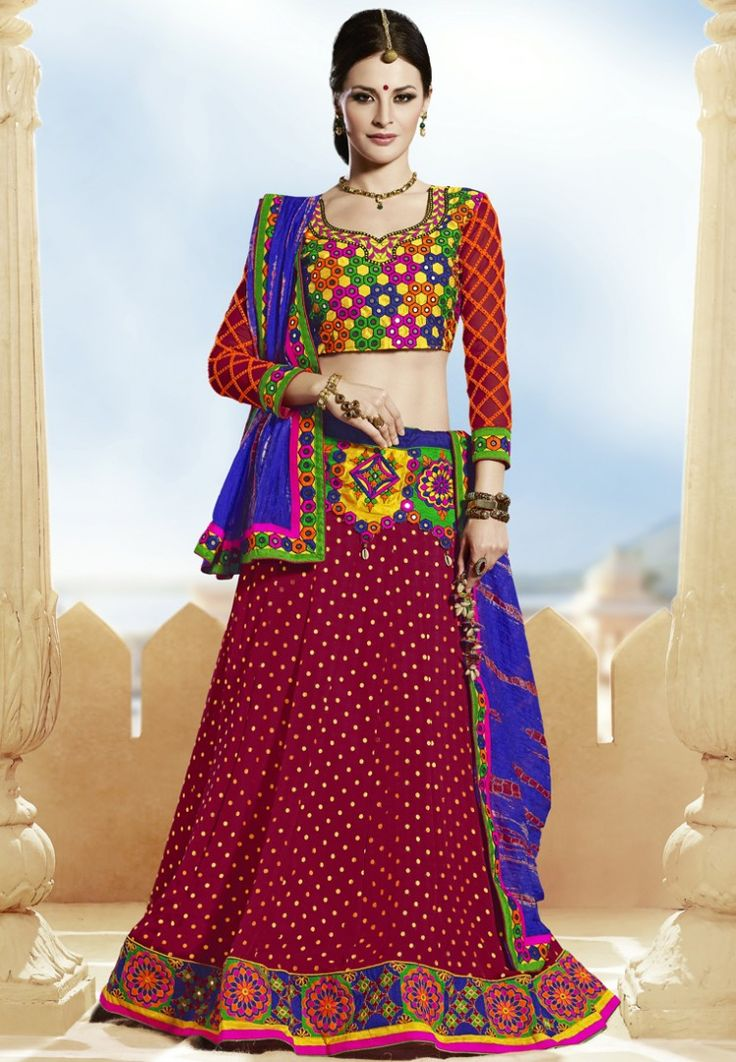 Maroon Embroidered Lehengas at $258.02 (24% OFF)