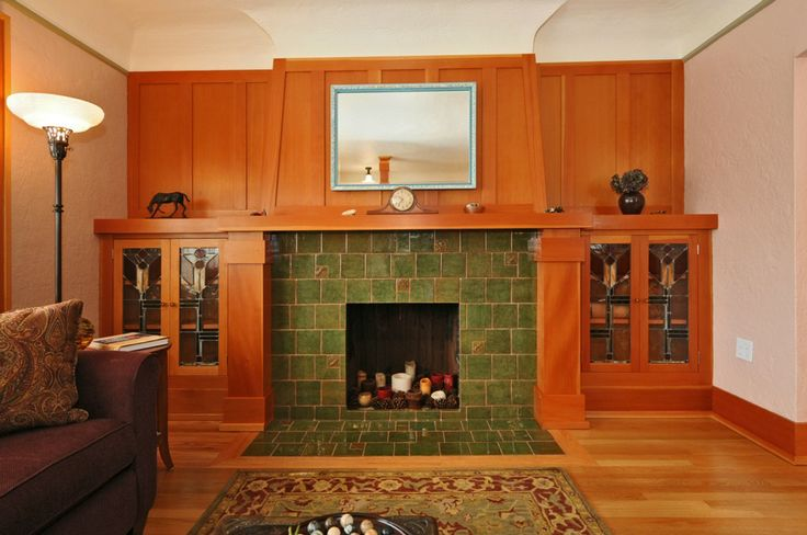 19 best images about fireplace flanked by built in for Craftsman fireplaces photos