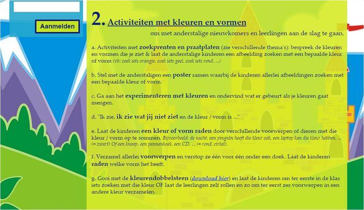 Verzameling activiteiten om rond thema kleuren en vormen aan de slag te gaan en Nederlandse woordenschat met anderstalige nieuwkomers en leerlingen te oefenen.
