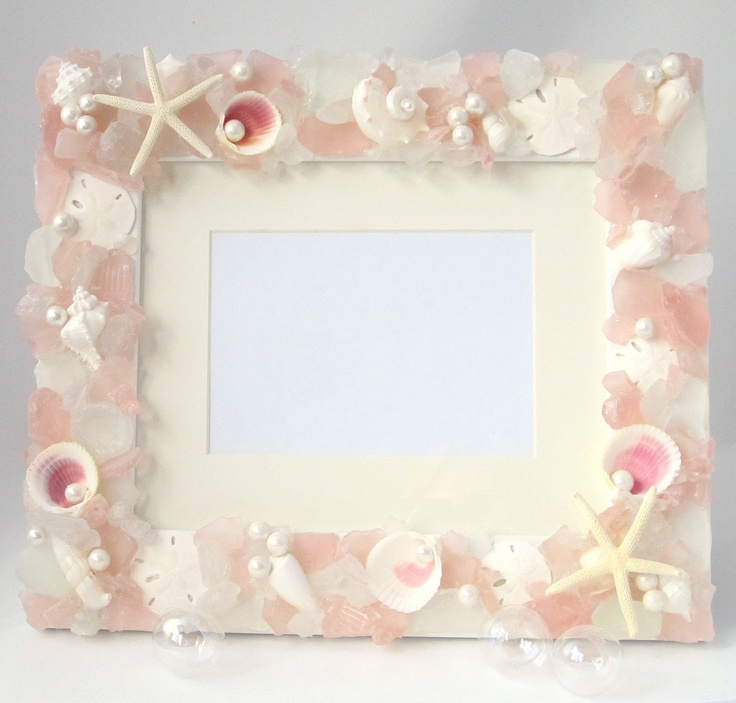 Shell and Sea Glass Beach Decor Frame - Beach Glass and Seashell Frame w Starfish - 8x10 Pink. $99.00, via Etsy.