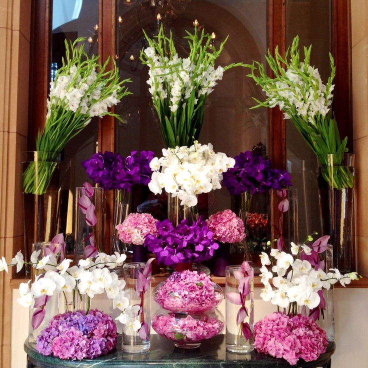 Gladiolus, orchids, and hydrangeas in romantic pinks, royal purples, and luxurious whites make a gorgeous arrangement @Four Seasons Hotel Istanbul at Sultanahmet.