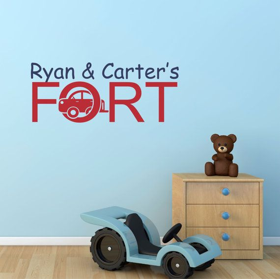Personalized kids name playroom fort wall decal sticker